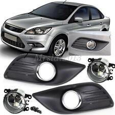 Pair Front Fog lights Lamp & Cover Grille Car for 2009 2010 2011 Ford Focus