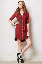 Anthropologie Tiny Pima Embroidered Shirtdress Buttoned High-Low Dress M 8 10