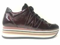 SCARPE SNEAKERS DONNA MELLUSO WALK 220 PELLE BORDEAUX ORIGINALE AI NEW