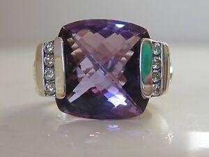 $1350 DAVID YURMAN LARGE AMETHYST DIAMOND DECO ICE RING