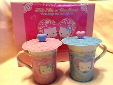 Sanrio Hello Kitty & Daniel Ceramic Mug/Cup Set w/ Silicone Lid (Set of 2)~ NIB!