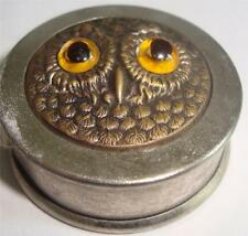 ANTIQUE TAPE MEASURE OWL HEAD RAISED GLASS EYES c 1910    10