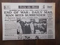 DAILY MAIL WWII NEWSPAPER SEPTEMBER 3rd 1945 - END OF WAR - JAPAN SURRENDERS