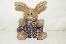 """Boyds Bears Jointed Beige Bunny Rabbit Plaid Overalls 1997 Bendable Ears 7.5"""""""