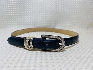 Brighton Classics Leather Belt Skinny Navy Blue Croc Embossed Silver Buckle Sz M