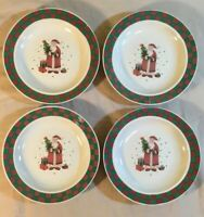 Christmas Santa Claus Present Tree Dessert Plates Set 4- Green Red Rim Stoneware