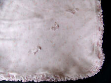 Pink Flower Ruffle Baby Blanket 3 Pink Bows Cotton Lovey