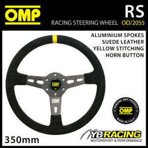 OD/2055/N OMP RS STEERING WHEEL 350mm Black Suede Leather with Aluminium Spokes
