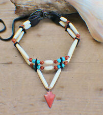 Native American Choker w/ sm. Goldstone Arrowhead Cherokee made Cert of Auth