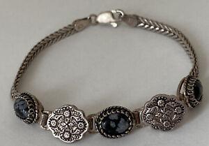 "Vintage Stunning Snowflake Obsidian Sterling silver Link Chain Bracelet  7"""