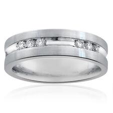 0.55 Carat Mens Round Cut Diamond Wedding Band 14k White Gold