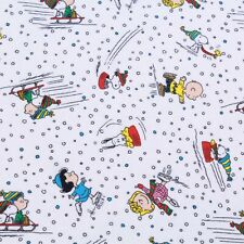 "Soft Brushed 100% Cotton, Snoopy & Charlie Brown, Skiing, White, 60"" Wide"