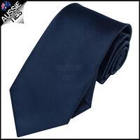 MENS DARK MIDNIGHT BLUE 8.5CM TIE necktie wedding plain formal