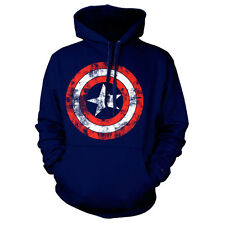 Official Captain America Distressed Shield Logo Sweater Hoodie - Blue Marvel
