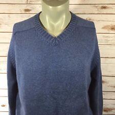 Lands End Mens Sweater Size Large 42-44 Blue V-Neck A8