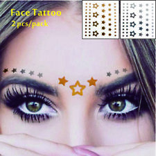 Gesicht Augen Tattoo Aufkleber Temporäre Tattoos 2er Packung f05 Gold & SILBER