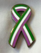 *NEW* SUFFRAGETTE - WOMENS RIGHTS - VOTES FOR WOMEN ENAMEL RIBBON PIN BADGE.