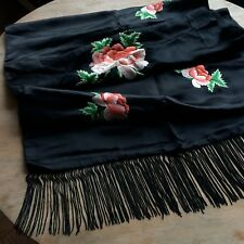 Vintage Black Shawl Scarf Silk Satin Embroidered Roses Floral Long