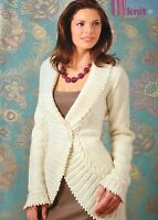 KNITTING PATTERN Ladies Wrap Cardigan with Picot Trim Cable Frill Debbie Bliss