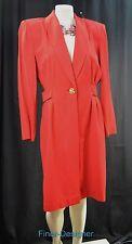Casual Corner sheath button dress suit collar dress crepe Red shirt dress 12 VTG