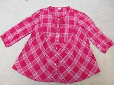 Levi's ladies red check fine cotton blouse UK M 14 Western Santa Fe country