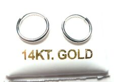 14Kt Pure Solid White Gold Very Small 10MM Endless Hoop Earrings.... Guaranteed!