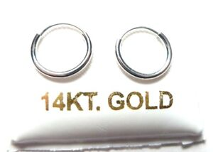 14Kt WHITE Gold Small 10MM Endless 050 Hoop Earrings...GIFT BOX - FREE SHIPPING!