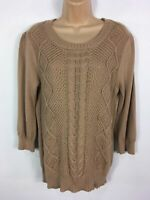 WOMENS OASIS BROWN CABLE KNIT 3/4 SLEEVE JUMPER SWEATER PULL OVER SIZE L LARGE