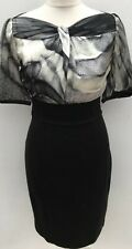 NEW MADE IN ITALY GOSSIP SILK BODICE FITTED BLACK/GREY OCCASION DRESS. SIZE UK 8