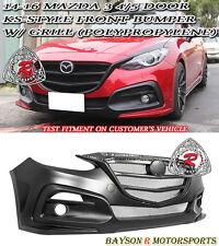 KS-Style Front Bumper + Black Mesh Grille Fits 14-16 Mazda 3 4/5dr