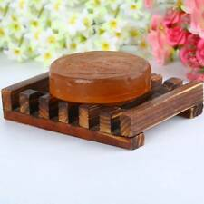 1x Natural Wood Wooden Soap Dish Storage Tray Holder Bath Shower us Plsei