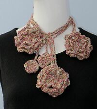 New Handmade Crochet Multi-Color Flower Scarf Necklace Lariat