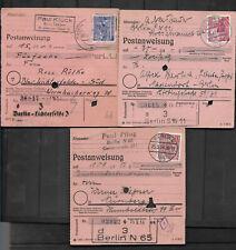 Mi.Nr.  51 + 52 + 54  3x Einzelfrankatur auf Postanweisung  alle Berlin Stempel