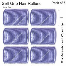 Soft Self Grip Cling Hair Curling Rollers LARGE BLUE 40mm Professional Pack 6