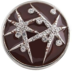 Silver White Rhinestone Star Brown Sky 18mm Snap Charm Jewelry For Ginger Snaps