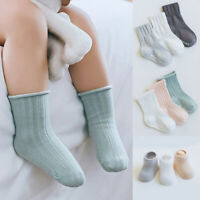 FT- 3 Pairs Kids Baby Boy Girl Solid Color Anti-slip Elastic Cotton Socks Splend