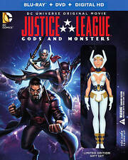 Justice League Gods and Monsters (2015) Blu-ray/Dvd/Digital Figure Gift Set New!
