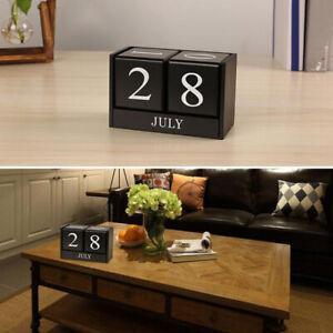 Wooden Cube Block Calendar Home Office Living Room Bedroom Table Decor Prop