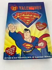 Vintage Superman Girl Animated Cartoon Valentines 1997 Gibson Unopened Box Nos