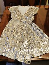 Michael Kors Silver Sequin Wrap Dress. XL. Party Dress. Holiday Dress. Elegant!