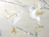GISELA GRAHAM CHRISTMAS OPAQUE ACRYLIC /GOLD GLITTER BIRD DECORATION X 2