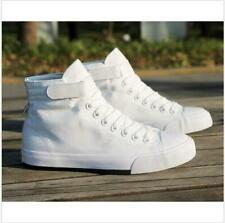 Mens Canvas High Top Lace Up White Sneakers Casual Trainers Athletic Shoes US 9