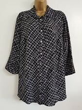 NEW Ex Debenhams Plus Size 16-32 Black White Spotted Blouse Shirt Top Work Smart
