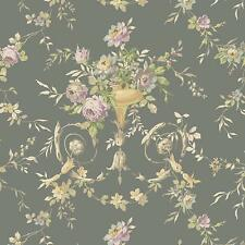 Wallpaper Trditional Floral Urn on Gray Metallic Background