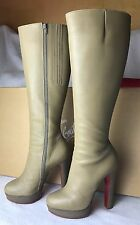 Christian Louboutin Beige Leather Boots Euro 37 / US 7