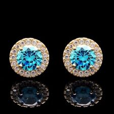 1.00CT Halo Created Topaz & Diamond Stud Round Earrings Solid  14k Yellow Gold