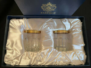 Faberge Crystal Whiskey Glasses with 24K Gold Trim in the Original Box
