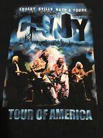 "Vtg 2002 CROSBY STILLS NASH & YOUNG ""Tour of America"" Concert T-Shirt CSNY XL"