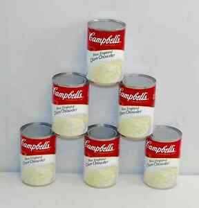 X6 Campbell's New England Clam Chowder Soup 10.5 oz 6 Cans Campbells exp.1/2023