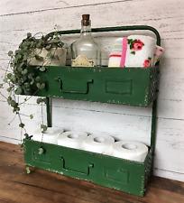 Industrial Vintage Style Metal Bathroom Shelf Storage Unit Toilet Roll Holder